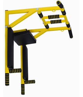 Турник Брусья Пресс MDL настенный усиленный 3 в 1 разборный узкий хват желтый