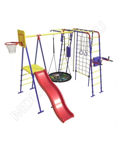 Уличный детский спортивный комплекс MDL Семейный Плюс с сеткой для лазания
