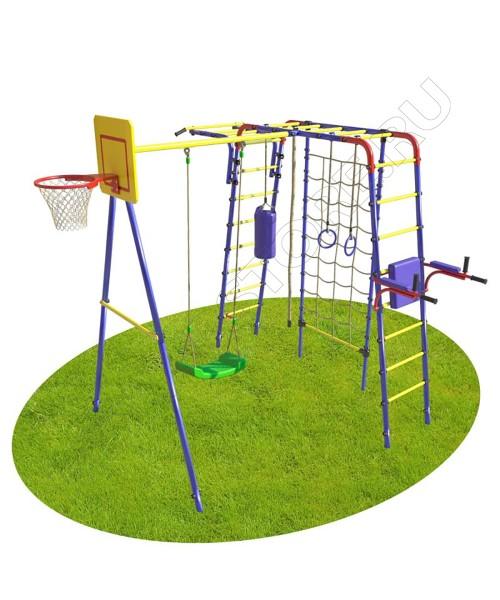 Уличный детский спортивный комплекс MDL Юниор Плюс с сеткой для лазания (пластиковые качели)