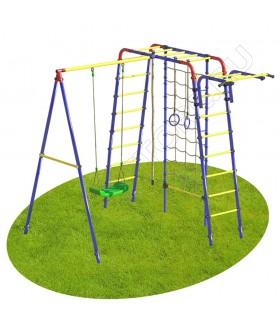 Уличный детский спортивный комплекс MDL Юниор с сеткой для лазания (пластиковые качели)